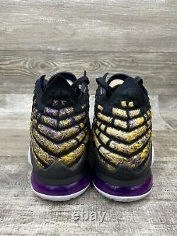 Nike Lebron XVII 17 Lacs De Lacs Lakers Noir Blanc Violet Jaune Bq3177-004 Sz 11