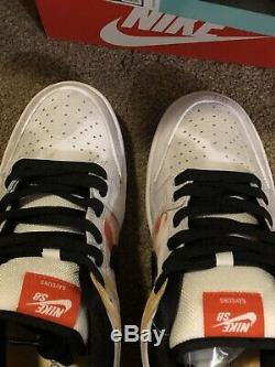 Nike Sb Dunk Low Raygun Tie Colorant Blanc Taille 8,5 Mens Ds