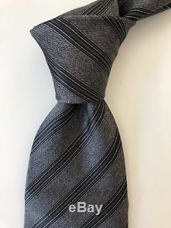 Nouveau 2018 275 $ Stefano Ricci Cravate Gorgeous Style Gris / Noir Rayé Italie Soie