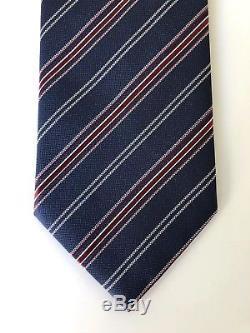 Nouveau 2018 Cravate Brioni 230 $ Gorgeous Colors Marine / Rouge Pure Silk Italie Rare