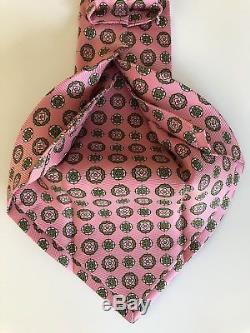 Nouveau 2018 Cravate Kiton Cravate Perfection Seven Soie Douce Rose / Vert 7 Fois De L'italie