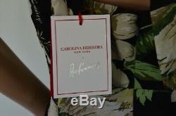 Nouveau 2019 Carolina Herrera Rose Cumming Minuit Jardin Floral Cravate Robe 2