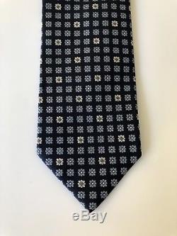 Nouveau $ 205 Cravate Ermenegildo Zegna Staple Pattern Marine / Bleu Ciel / Blanc Italie Rare