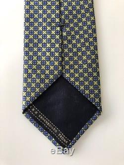 Nouveau $ 245 Cravate Ermenegildo Zegna Bleu / Vert Soie Crémeuse Rare Édition Limitée
