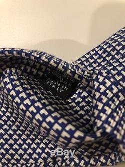 Nouveau $ 295 Cravate Kiton Cravate À Motif Éblouissant 7 Plis Bleu / Blanc De Soie Douce De L'italie