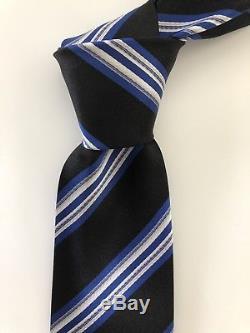 Nouveau 295 $ Cravate Kiton Cravate À Motif Époustouflant Soie Doux Crémeux - 7 Plis Noir / Bleu Italie