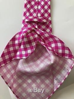 Nouveau $ 295 Kiton Cravate Stunning Pattern Rose / Blanc Non Doublé Soie 7 Plis Italie Rare