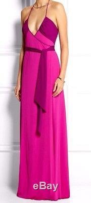 Nouveau $ 650 Diane Von Furstenberg Dvf Dacey Deux Tone Wrap Tie Longue Robe Maxi Us 4