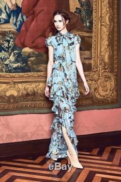Nouveau Alice + Olivia Lessie Tie Neck Bow Blue Blue Floral Ruffle Maxi Robe Longue Robe 4