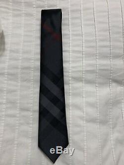 Nouveau Authentique Burberry Nova Check Plaid Logo Hommes Tie Haymarket Noir Gris 190 $