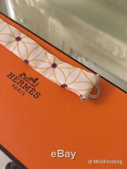 Nouveau Authentique Hermes Imperiales Multicolore Soie Kelly Birkin Sac Charm Bow Tie