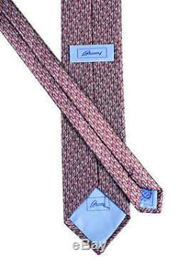 Nouveau Brioni Bourgogne Bleu Géométrique 3.25 100% Soie Cravate À La Main Nwt