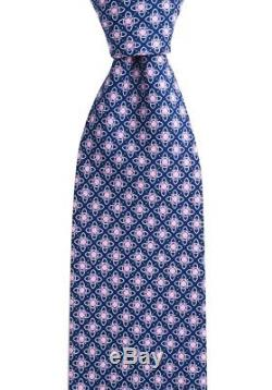 Nouveau Brioni Disn. D010171 Cravate Cravate En Soie Bleue Géométrique Rose 3.25 Cravat