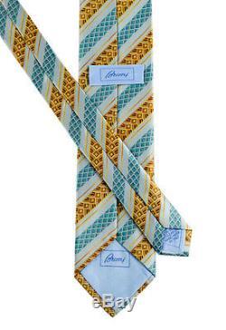 Nouveau Brioni Italie Bleu Clair Déco Rayé 3.25 Soie Cravate À La Main Nwt