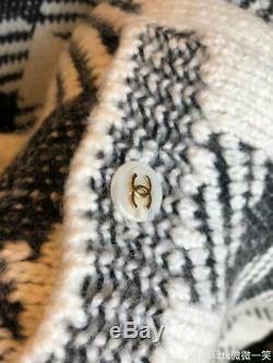 Nouveau Chanel Surdimensionné Plaid Lacets Ceinturée En Cachemire Cardigan Fr34