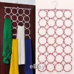 Nouveau Cintre Avec 28 Anneaux Fente Conception Écharpe Ceinture Cravate Placard Organisateur Hook