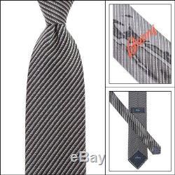 Nouveau Cravate Brioni Italy En Argent Noir À Micro Rayures De 3.25