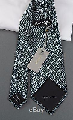 Nouveau Cravate Luxueuse En Soie Pied-de-poule Aqua Tom Ford Nwt