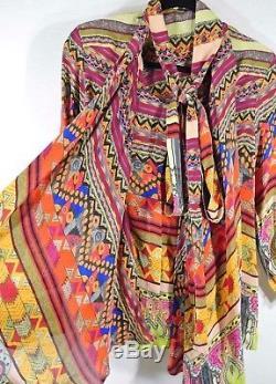 Nouveau Etro Blouse À Imprimé Géométrique Et Col Noué Multicolore Taille 42 $ 1,095