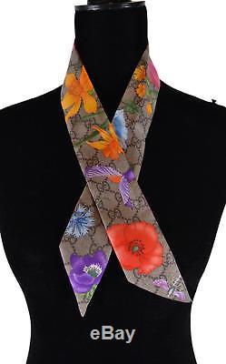 Nouveau Gucci Femmes Flora Gg Guccissima Soie Skinny Neck Bow Tie Bandeau Scarf
