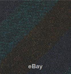 Nouveau Kingsman + Drake's Rayures Laine Tie London Nwt Tissé Brun Vert Bleu Marine