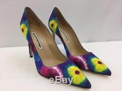 Nouveau Manolo Blahnik Bb Tie-dye Fabric 105mm Pompes Taille 37.5 / 7.5 695,00 $