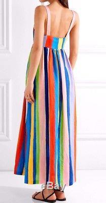 Nouveau Nwt $ 425 Mara Hoffman - Cravate En Lin À Rayures Et Rayures Bleues Bio Longue Robe Longue Xs 0