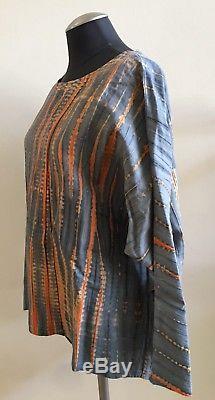 Nouveau Sans Étiquette Babette Manches Longues 100% Coton Tie-dyed Blouse Top, One Size