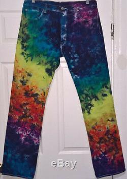 Nouveau Tie Dye Classique 501 Levi Jeans 36 X 34 Bouton Fly 100% Coton Arc-en-