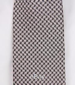 Nouveau Tom Ford Cravate En Soie Mauve Et Pied De Poule Noir Luxueux Nwt
