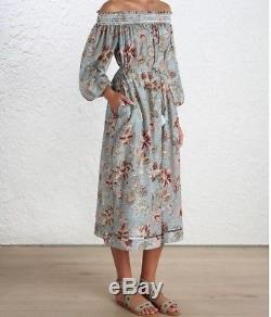 Nouveau Zimmermann Floral Off Épaule Pavilion Smock Soie Maxi Ceinture Robe Tie Dress Aa850