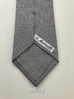 Nouvelle 245 $ E. Marinella Napoli Cravate En Soie Soft Et 50 Onces Divine Noir / Blanc Auto Incliné