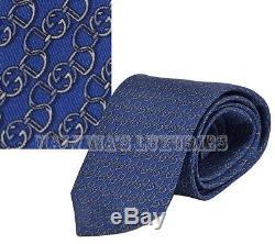 Nouvelle Cravate Auth Gucci Bleue Gg Logo Horsebit Pattern Twill De Soie 352615