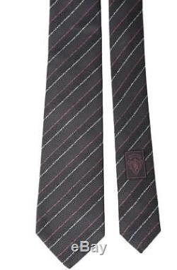 Nouvelle Cravate En Soie 100% Textile Gris Métallisé Gris Rayures Gucci Avec Sac