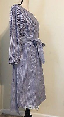 Nouvelle Robe À Encolure Bateau Rayée Jcrew Avec Cravate Taille 14 Marine / Blanche Rayure H7696 Sp18