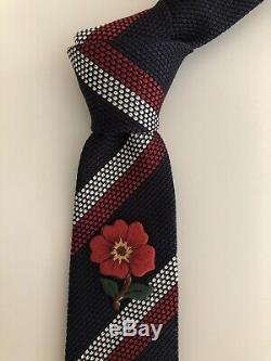 Nouvelle Ultra Ultra Rare Gucci Tie Fleur Grenadine Soie Slim Limited Edition