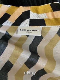 Nwot Dries Van Noten Imprimé Robe Portefeuille, Grande Taille