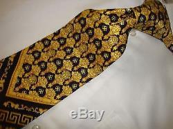 Nwot Gianni Versace Noir Et Or Medusa Hommes 100% Soie Fait Espagne Cravate