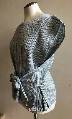 Nwot Plis S'il Vous Plaît Issey Miyake Tie Ceinture Top Chemisier Taille 5