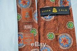 Nwot Robert Talbott Cravate À La Main En Soie Multicolore Orange Avec Multicolore