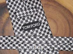 Nwot Tom Ford Cravate En Soie Jacquard À Motif Pied De Poule Jacquard Noire