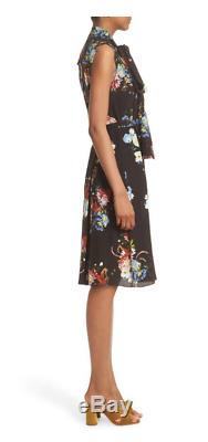 Nwt $ 1440 Erdem Richelle Tie Cou Imprimé Floral Crêpe Robe Taille Us 10 Uk 14
