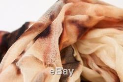 Nwt 1675 $ Brunello Cucinelli - Écharpe En Mousseline De Soie Imprimée 100% Cachemire Douce A176