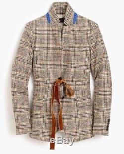 Nwt 238 $ J Blouson Regent Plaid Pour Femme Crew Avec Cravate Velours Taille 2