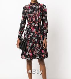 Nwt $ 3980 Valentino Lotus Imprimer Tie Neck Dress Taille 4