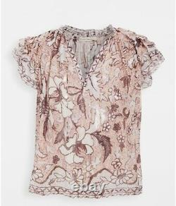 Nwt Authentic Ulla Johnson Alexi Blouse Top In Blush Taille 4 $us 375 $