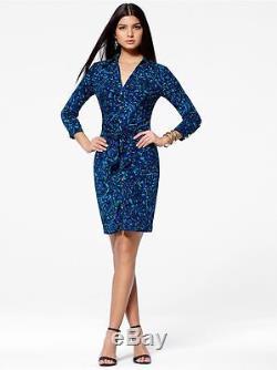Nwt Cache Sexy Bleu Imprimé Vert Avant Cravate Robe Chemise Extensible S M L XL