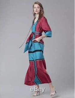 Nwt Diane Von Furstenberg Nœud Papillon En Soie Maxi Dress Sz 14