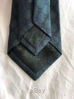 Nwt Gucci Gg Cravate Brit Jacquard Vert Foncé Avec Logo Gg Bleu Épuisé 200 $