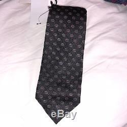 Nwt Gucci Gg Tinev Cravate En Soie Jacquard Noir Gris Foncé Logos Double G 210 $